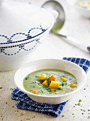 Cream of broccoli soup with polenta croutons