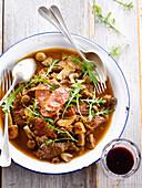 Chorizo,beef and mushroom stew