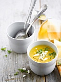 Cream of sweet potato soup with crumbled feta