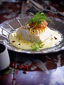 Cod in creamy lemon sauce,chorizo tapenade