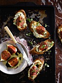 Ricotta and fig crostinis