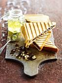 Chocolate and hazelnut taosted sandwich