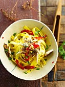 Tagliatelles with mackerels,ginger and red hot peppers