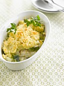 Cod, leek and mashed potato gratin