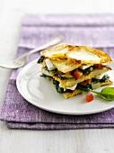 Potato, mozzarella and spinach tortilla sandwich