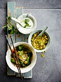 Bulghour with sauteed vegetables ,yoghurt sauce