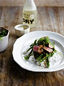 Beef fillet with sake and sesame seeds,green beans and rice