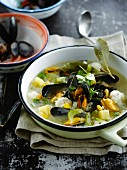 Mussel, cauliflower and celery soup
