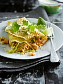 Pancake stuffed with shrimps and cabbage