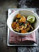 Noodles with tofu and swiss chard