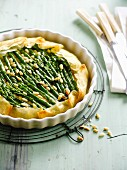 Green asparagus and pine nut crisp filo pastry tart