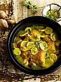Chicken,artichoke,lemon and pistachio Tajine
