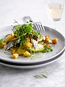 Herring,celeriac and crouton salad