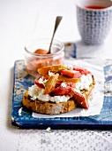 Faisselle and stewed rhubarb on toast