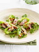 Asian-style beef, cucumber and pepper in lettuce leaves