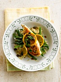 Chicken Piccata with green beans and orzo