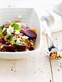Orange lentil,beetroot,feta and red onion salad
