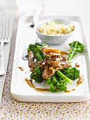 Broccolis and beef with orange sauce