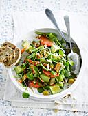 Purslane,avocado and crab salad