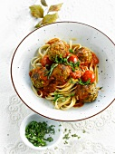 Fettuccini with walnut meatballs