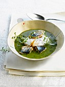 Watercress soup with mackerel and soft-boiled egg