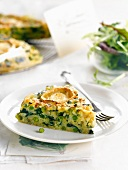 Rice,pea and goat's cheese quiche