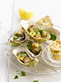 Hot oysters with risotto butter