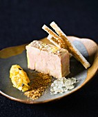 Bloc of foie gras with Monbazillac aspic, quince-passionfruit marmelade and crumbled gingerbread