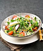 Corn lettuce, cherry tomato, radish and beansprout mixed salad
