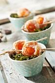 Dublin Bay prawn and melon brochettes with samphire