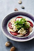 Red and white beetroot carpaccio with cream cheese