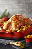 Stuffed turkey from Janzé with spicy apples
