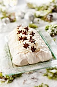 Breton pastis and star anise Pavlova-style log cake