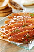 Gravlax salmon marinated in kirsch from Fougerolles