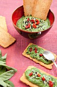 Spinach,sun-dried tomato,black and sesame seed dip