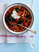 Chickpeas with tomatoes,sweet potatoes and swiss chard