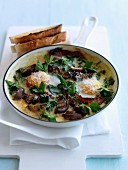 Mushroom, bacon, fried egg and Emmental Clafoutis