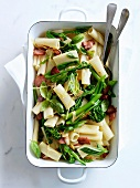 Macaronis with broccolis,smoked bacon,basil and lemon zests