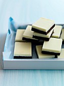 White and dark chocolate squares