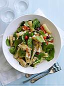 Pasta,spinach,artichoke,cherry tomato and feta salad