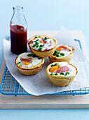 Quail's eggs,bone ham and pea mini pies