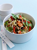 Noodles with shrimps,Thai basil and crushed and grilled peanuts