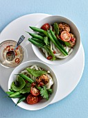 Noddles with pork meatballs,green beans,cherry tomatoes and red pepper sauce