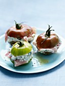 Tomatoes stuffed with cream cheese, herbs and Aoste ham