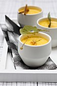 Small pots of lime blossom-flavored baked egg custard