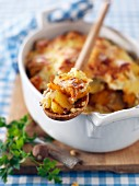 Swedish turnip, potato, pumpkin and Beaufort bake