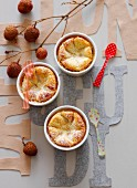 Lychee and almond individual batter puddings