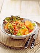 Raw vegetable and spelt salad