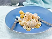 Rollet salt-cod fillets in creamy grape sauce