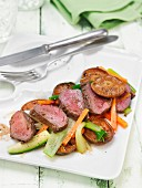 Stag fillet with mushrooms and vegetables